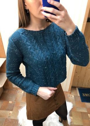 Бирюзово-синий свитер collezione, размер s-m