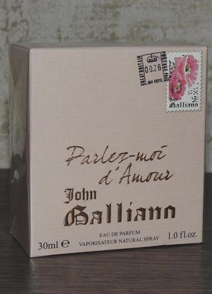 John galliano parlez-moi d'amour eau de parfum 30 мл для женщин оригинал