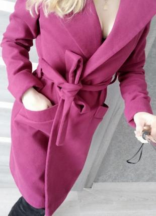 Пальто миди на запах бордо прямое