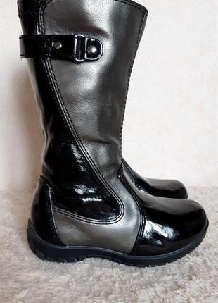 George черные лаковые серебристые высокие деми сапоги на молнии р.24 15 см