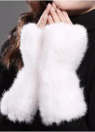 Набор - повязка на голову из натуральной норки  и перчатки без пальцев