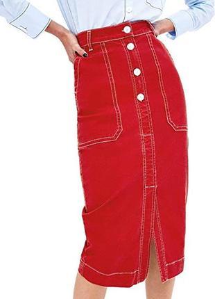 Дерзкая миди юбка карандаш высокая посадка с контрастной строчкой zara woman turkey