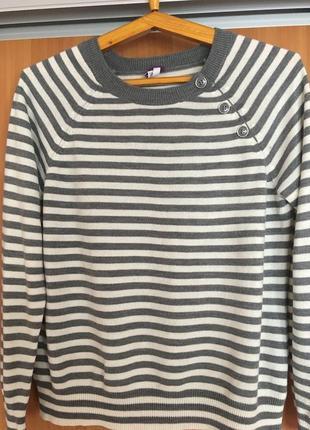 Джемпер акрил полосатый серый размер 12 (евро 40)