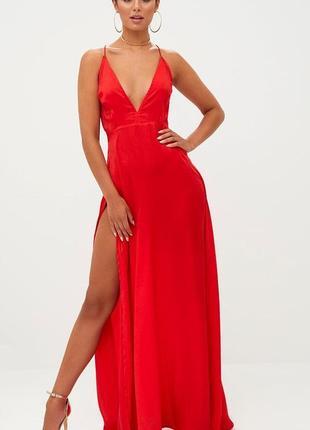 Роскошное алое красное макси с разрезом платье prettylittlething s 8