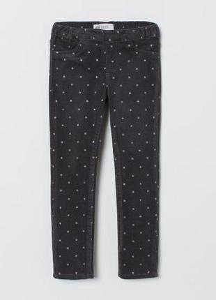 Вельветовые треггинсы с серебряными звёздами, штаны, 86- 92, h&m, бирка