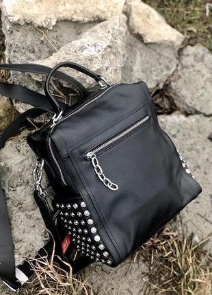 Женский кожаный рюкзак. кожаная сумка. рюкзак трансформер. сумка-рюкзак.