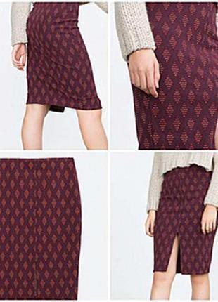 Фактурная текстурная юбка миди карандаш с принтом zara trafaluk turkey