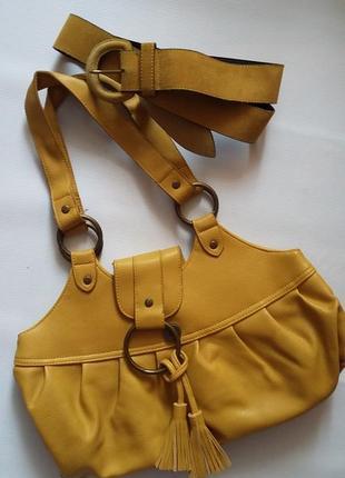 Пояс горчичного цвета , сумка в подарок