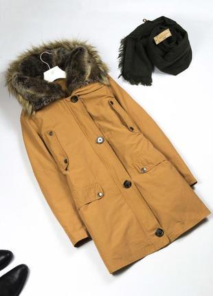 Крутая парка пуховик 3 в 1 / длинная куртка на пуху с капюшоном / пуховое пальто m l