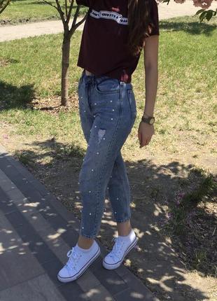 Mom джинс з бусінами