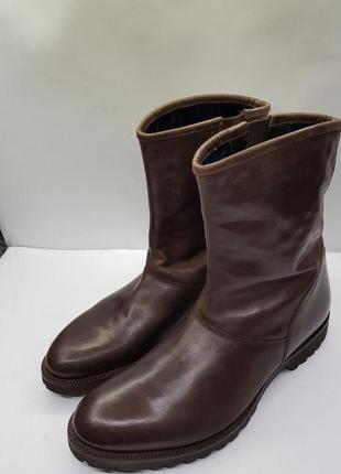 Мужские коричневые кожаные тёплые ботинки сапоги ручной работы arfango италия