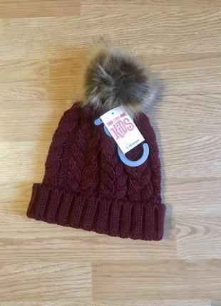 Вязаная шапка, шапочка для девочки matalan, англия, р. 7-10 лет, 122-140