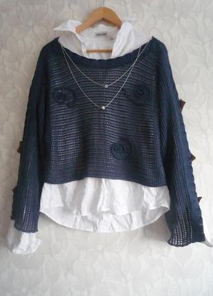 Жакет, кофта, джемпер, свитер ажурная сетка, реглан, в стиле бохо, casual.