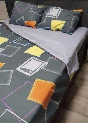Постельный комплект квадраты разноцветные бязь голд