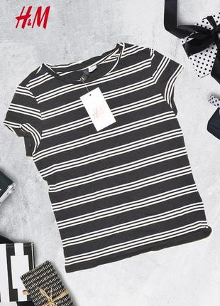 Полосатая укороченная футболка h&m