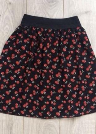 Летняя мини юбка с принтом на резинке
