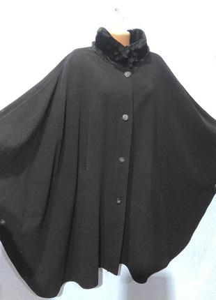 Кашемірово-шерстяне пальто,пончо батал,michele boyard