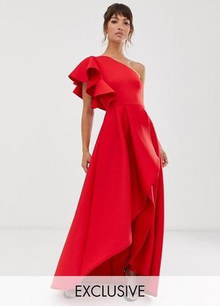True violet красное асимметричное платье с воланом