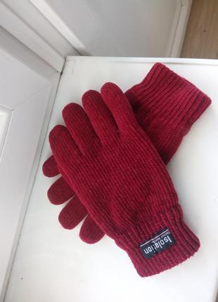 Женские красивые  малиновые перчатки