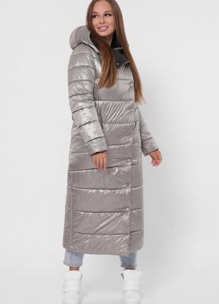 Зимняя двусторонняя куртка пальто сильвер/черный