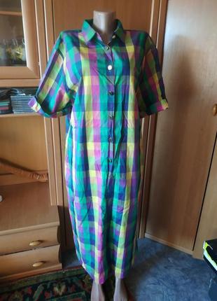 100%хдлпок!платье-рубашка в яркую клетку от knothe р. 48