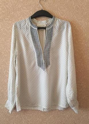 Роскошная фирменная свободная рубашка h&m с вышивкой, размер m, 100% вискоза