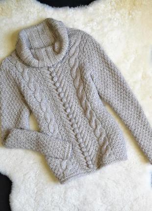 Теплый вязанный свитер с широким горлом marks&spencer