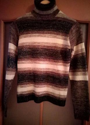 Базовый полосатый свитер/кофта/гольф/водолазка/в полоску/под горло