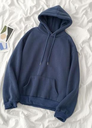 Модное объемное  худи унисекс на флисе с капюшоном цвет синий