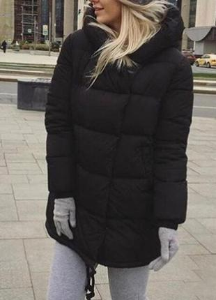 Зимняя теплая куртка пуховик зефирка одеяло дутая пуфер черная