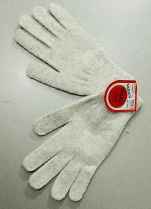 Перчатки женские шерстяные молочные