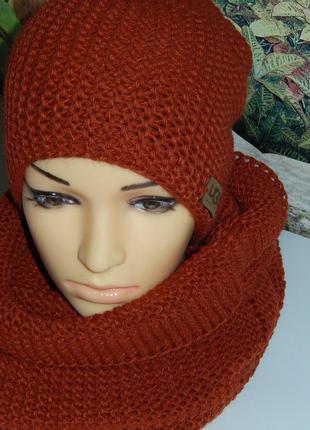 Классный зимний набор,шапка(на флисе)+хомут