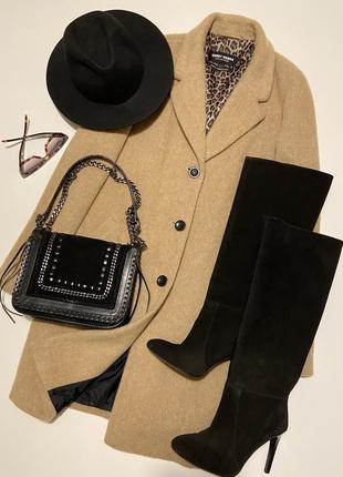 Стильное прямое пальто цвета camel от gerry weber (65% шерсть; 10% мохер)