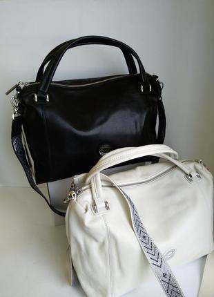 Кожаная сумка polina & eiterou черная и белая