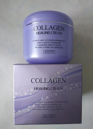 Питательный крем с коллагеном jigott collagen healing cream, 100 мл. корея