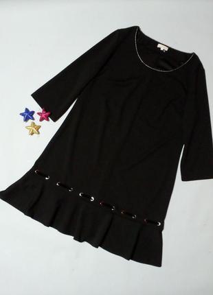 Чёрное базовое платье с воланом по низу 16