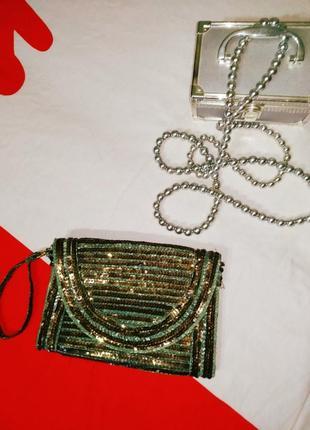 Вечерняя маленькая сумка клатч пайетки блестящая винтаж бохо ретро