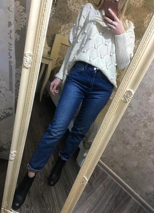 Плотные джинсы mom высокая посадка