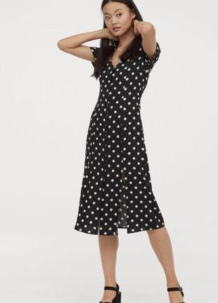 Стильное платье в горошек с разрезами h&m