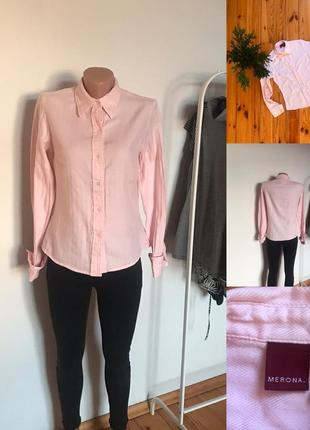 Красивая нежно-розовая рубашка с запонками merona. s