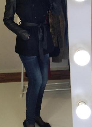 Only шерстяное пальто с кожаными рукавами
