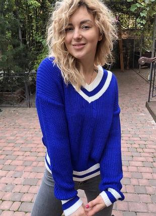 Мягкий вязаный зимний свитер пуловер с узором коса плетенка трехцветный новый