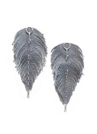 Кожаные серьги - перья, ключ, бохо