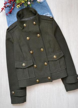 Стильное полупальто короткое пальто милитари хаки zara