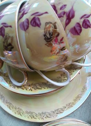Сервиз чайный fortuna фарфор из гдр винтаж2 фото