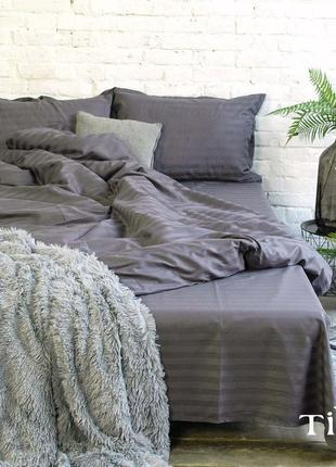 Графитовый модный комплект  постельного белья из натурального хлопка