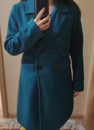 Пальто бирюзового цвета (осень-весна)