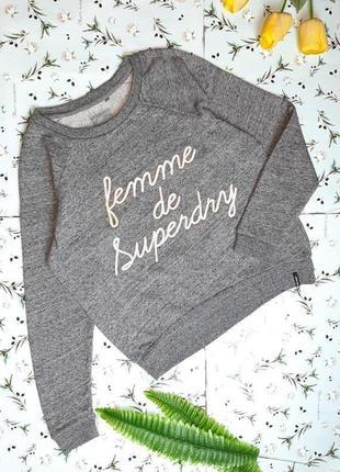 🎁1+1=3 фирменный модный серый свитер лонгслив оверсайз superdry, размер 46 - 485 фото