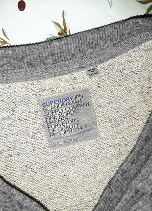 🎁1+1=3 фирменный модный серый свитер лонгслив оверсайз superdry, размер 46 - 4810 фото