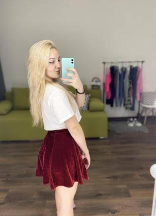 Велюровая юбка бордо колокольчик марсала2 фото